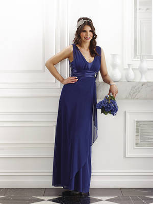 Full length high twist chiffon gown suitable for a bra