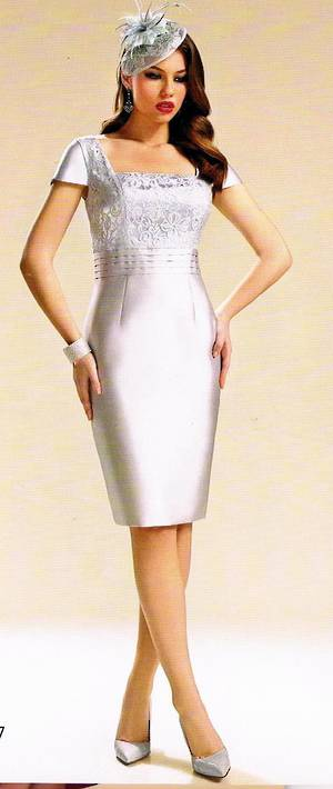 Silver dress with lace bodice and silver bolero