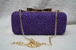 Violet lace and gold clutch