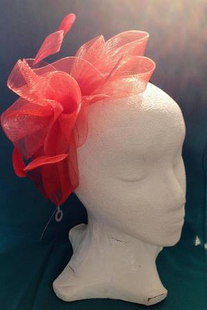 Cherry red  bow fascinator