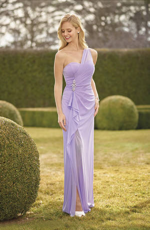 One shoulder ruched split gown with a sweetheart neckline