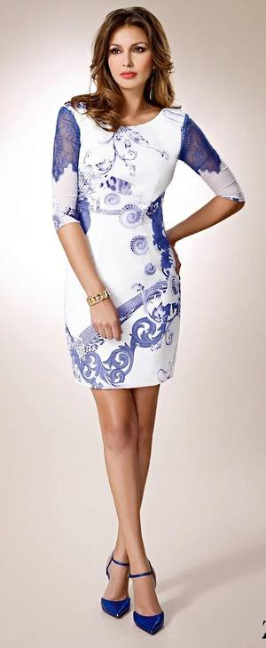 White and blue dress with cut out back - size 8/10 only