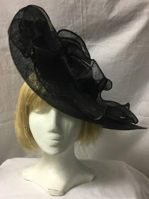 Black asymmetrical picture hat - STUNNING - one only