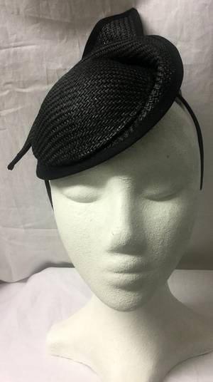 Black upturn cocktail hat on a headband - one only