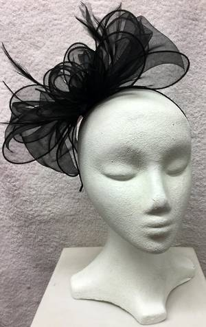 Black organza multi looped fascinator
