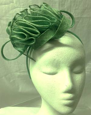 Sage green gathered fascinator - one only