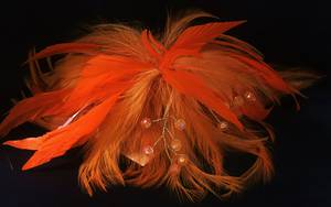 Orange feather fascinator