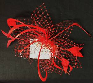 Red  (scarlet) fascinator with veiling and feathers - one only