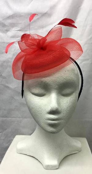 Red small cocktail hat on headband