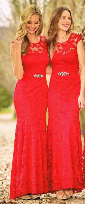 Scarlet red lace gown - size 16 only