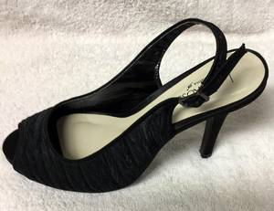 Black satin stiletto shoe