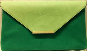 Mint/jade envelope clutch