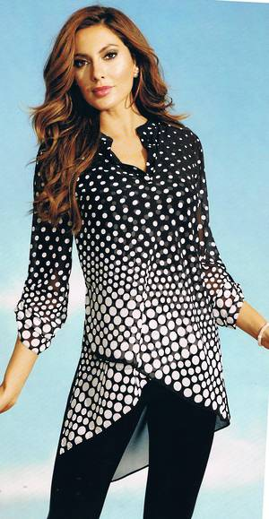 Black and white spot chiffon tunic