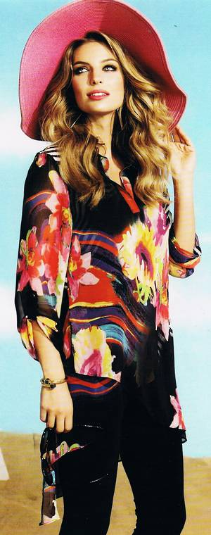 Multi coloured chiffon tunic