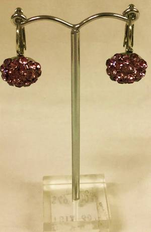 Antique pink crystal circular drop earrings