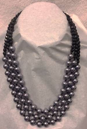 Graduated charcoal pearl and jet necklace