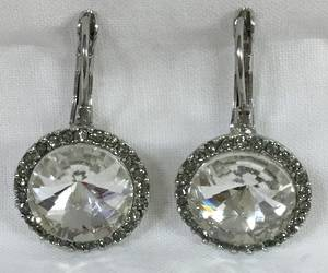Circular clear crystal and diamante earrings