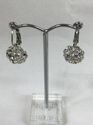Clear crystal circular drop earrings