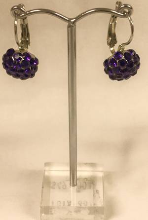 Dark purple crystal circular drop earrings
