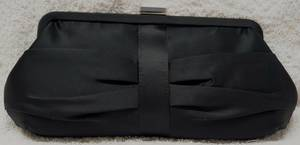 Black soft satin gathered clutch