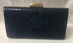 Navy and black snakeskin clutch