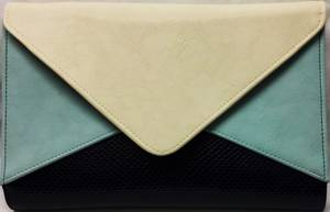 Navy/powder blue envelope clutch