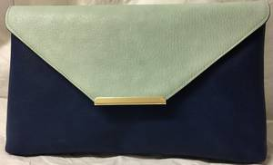 Navy / powder blue envelope clutch - one only