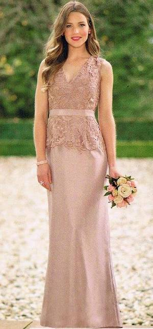 Lace and shantung full length gown
