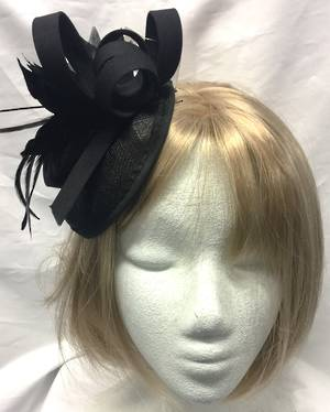 Black circular capped fascinator with feathers and feather flower