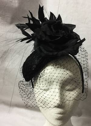 Black fascinator with silk flower, veiling and feathers - DESIGNER  HAT - one only