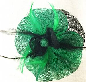 Emerald green and black circular fascinator