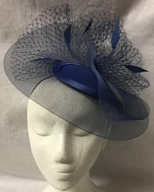 French navy cocktail hat with veiling and feathers