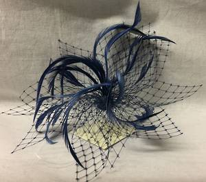 French navy fascinator with veiling and feathers