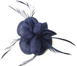 Navy fascinator with feather detail
