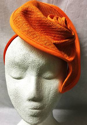 Orange swirled rose fascinator - one only