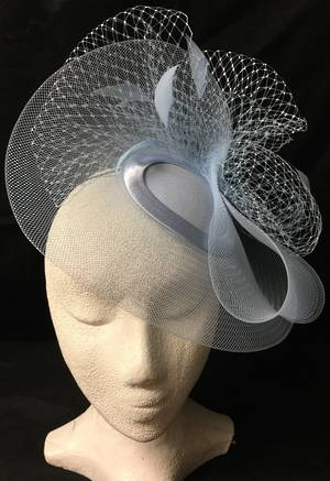 Ice (powder) blue cocktail hat with veiling and feathers - one only