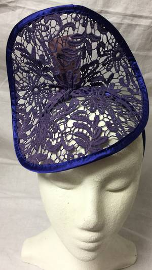 Royal satin edge and denim blue lace fascinator