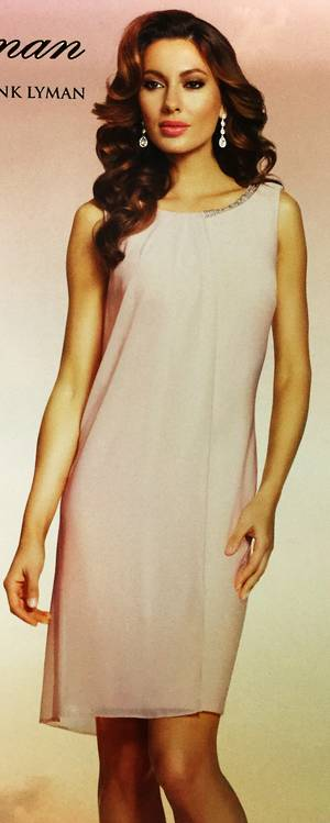 Rose sleeveless dress with chiffon overlay