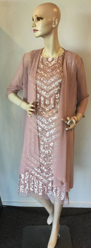 Tea rose sequin dress with chiffon coat - size 8 only