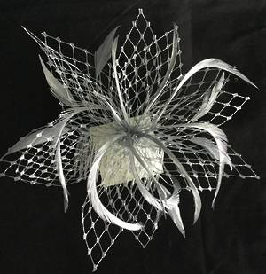 Silver fascinator with veiling and feathers