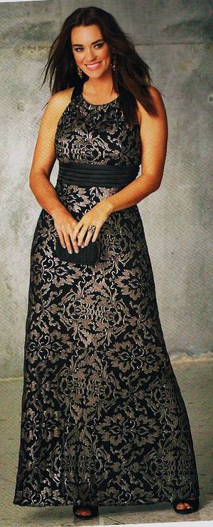 Black and gold embossed gown