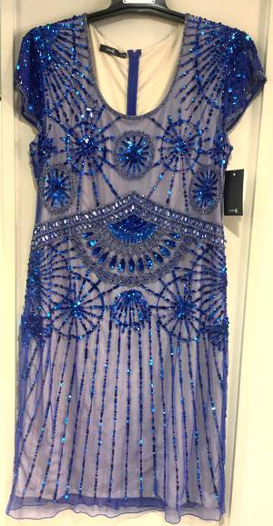 Electric and sand sequinned dress - one only size 10