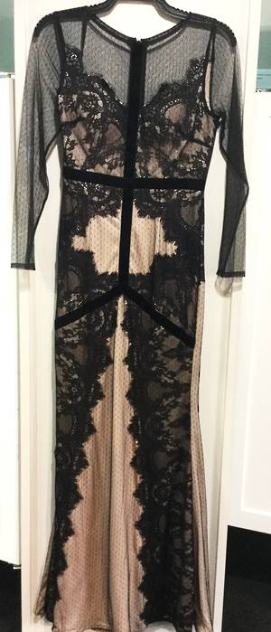Black and nude lace long sleeved gown