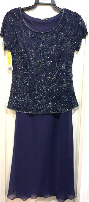 Navy long skirt and sequin top