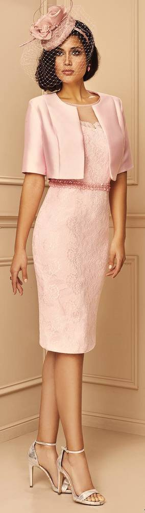 Dusky pink lace dress and bolero - size 14/16 only