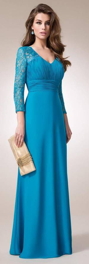 Lace and chiffon V Neck gown with sleeves - size 14/16 only