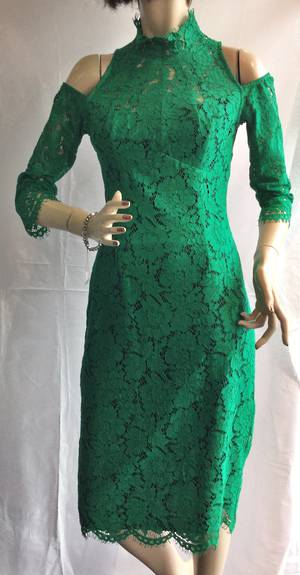 Emerald and navy lace dress