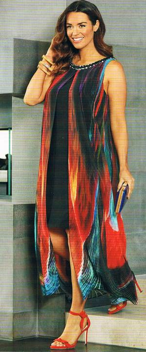 Dress with a multi coloured long line sheer overlay