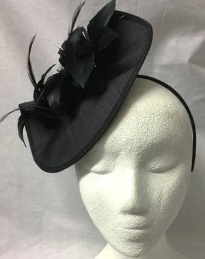 Black small cocktail fascinator on headband - one only