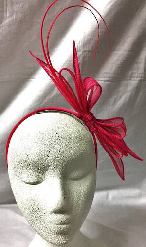 Fuchsia fascinator with bows and curly sticks - one only